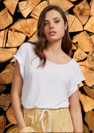 "100% soft touch organic textured linen white tee with round neck and cuffed cap sleeves.  Fabric:  100% linen  Manny's details: Bust:  95cm / 37.4""  Waist: 75cm / 29.5""  Hips: 100cm / 39.37"" She wears size Medium Tee length (shoulder to hem): Front -  57cm / 22.5"" Back -   62cm / 24"""
