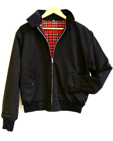Relco Harrington Jacket With Tartan Lining - BLACK
