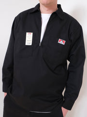 Ben Davis Half Zip Long Sleeve Work Shirt BLACK