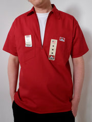 Ben Davis Short Sleeve Half Zip Work Shirt  Red