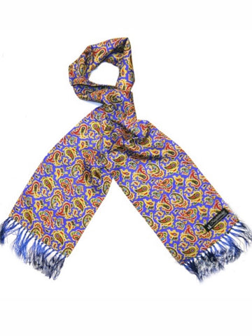 Knightsbridge Neck Wear - Paisley Silk Scarves - Royal Blue/Red/Yellow