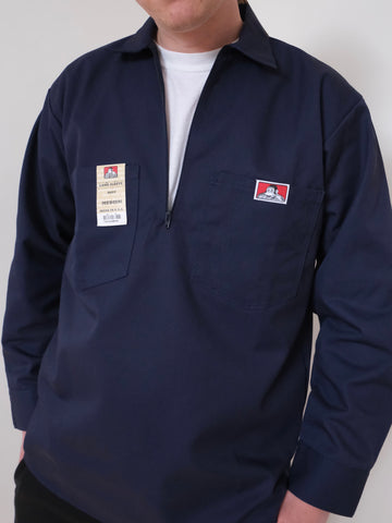 Ben Davis Long Sleeve Half Zip Work Shirt NAVY