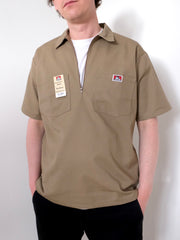 Ben Davis Short Sleeve Half Zip Work Shirt  KHAKI
