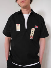 Ben Davis Short Sleeve Half Zip Work Shirt  BLACK