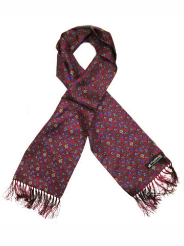Knightsbridge Neck Wear - Paisley Silk Scarves - Burgundy/Blue
