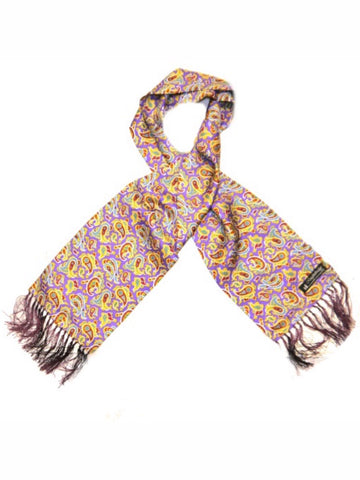 Knightsbridge Neck Wear - Paisley Silk Scarves - Purple/yellow