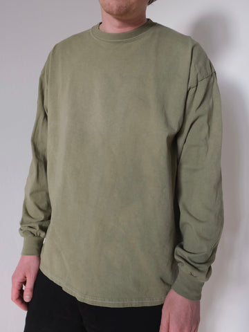 Beasley's Basics Enzyme Washed Plain Long Sleeve T-shirt - OLIVE