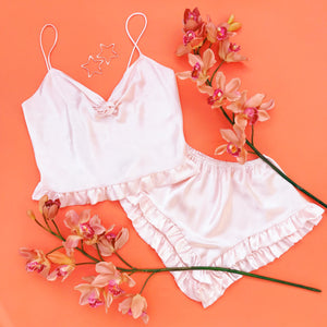 Dream Lover 1970s Pale Pink Satin Sleep Set