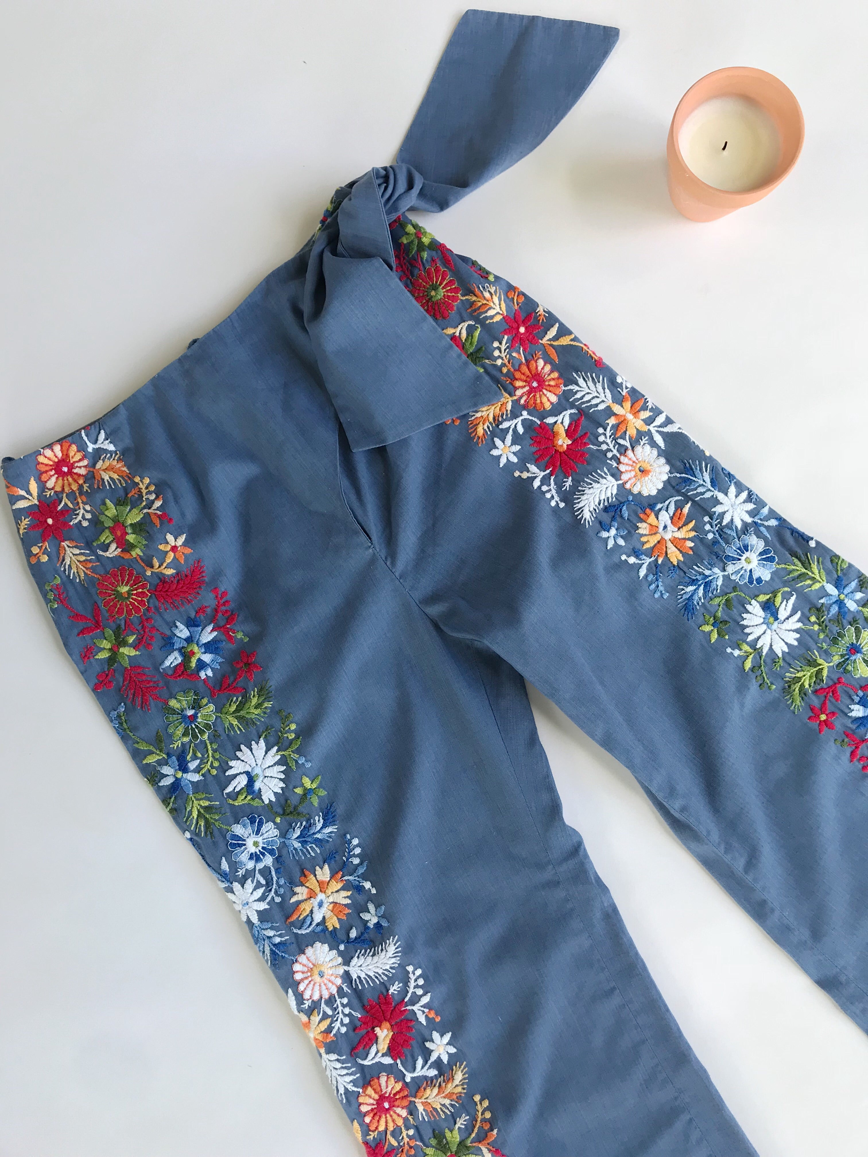 1970s Handmade Floral Embroidered Pants