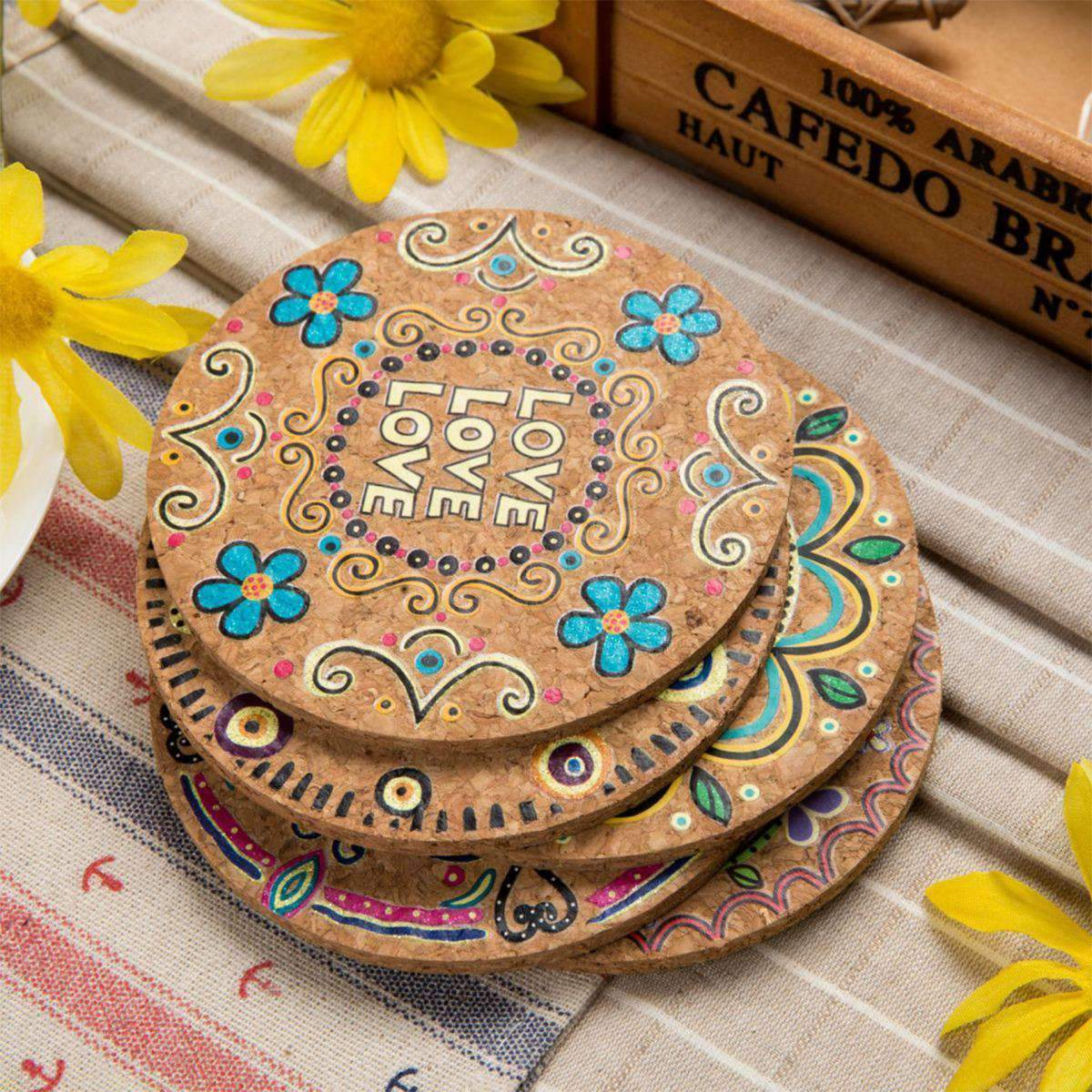 Cork Coasters (5) - Treehouse Supply - Plastic free, ecofriendly products