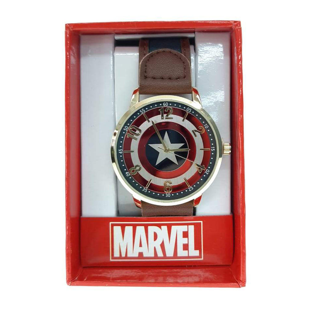 Marvel watch Captain America Antique Gold Strap Watch bracelette