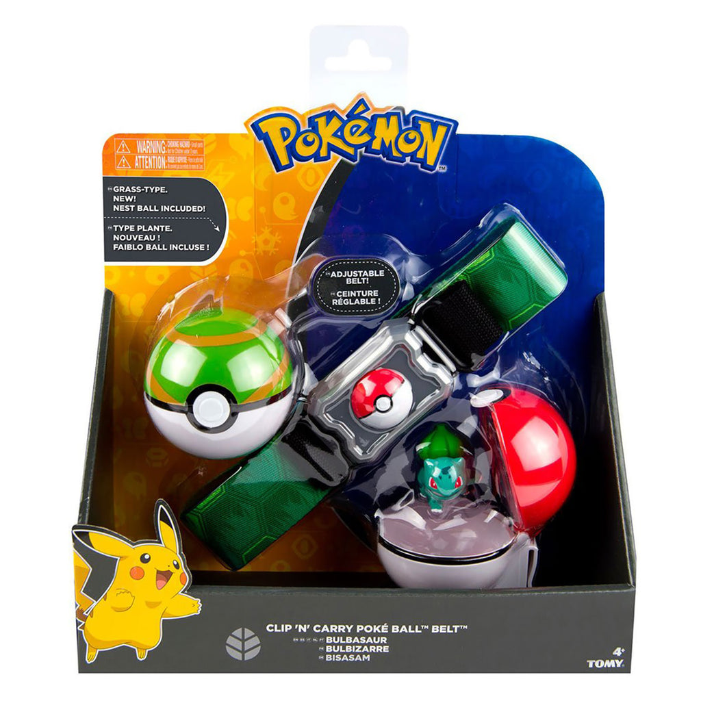 TOMY Pokémon Clip 'N' Carry Poké Ball Belt Play Set with Bulbasaur