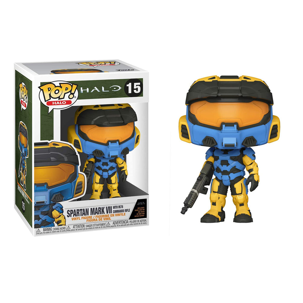 Funko Pop! Games #15: Halo Infinite - Spartan Mark VII with VK78, Blue & Yellow, with Game Add On
