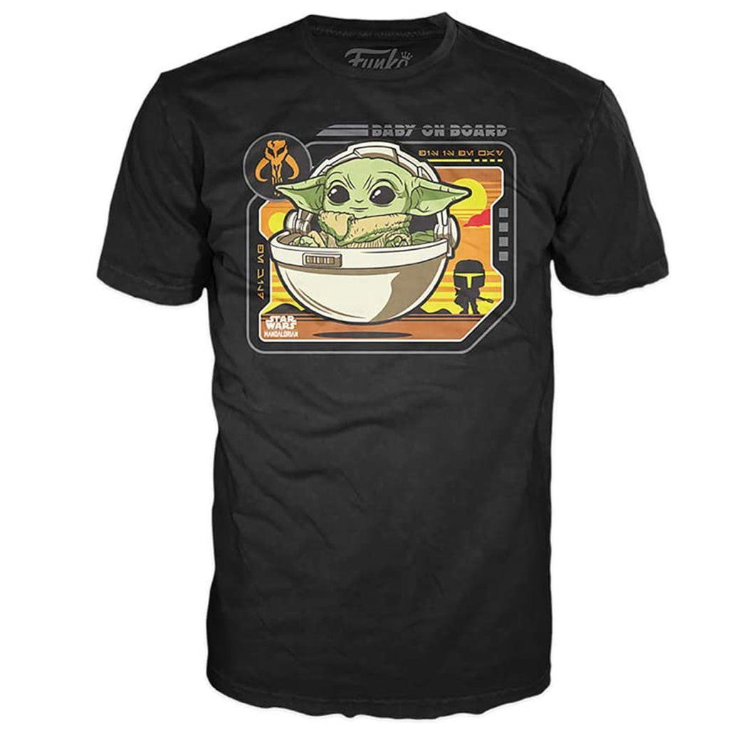 Funko Star Wars: The Mandalorian T-Shirt - The Child, Baby On Board (Black)