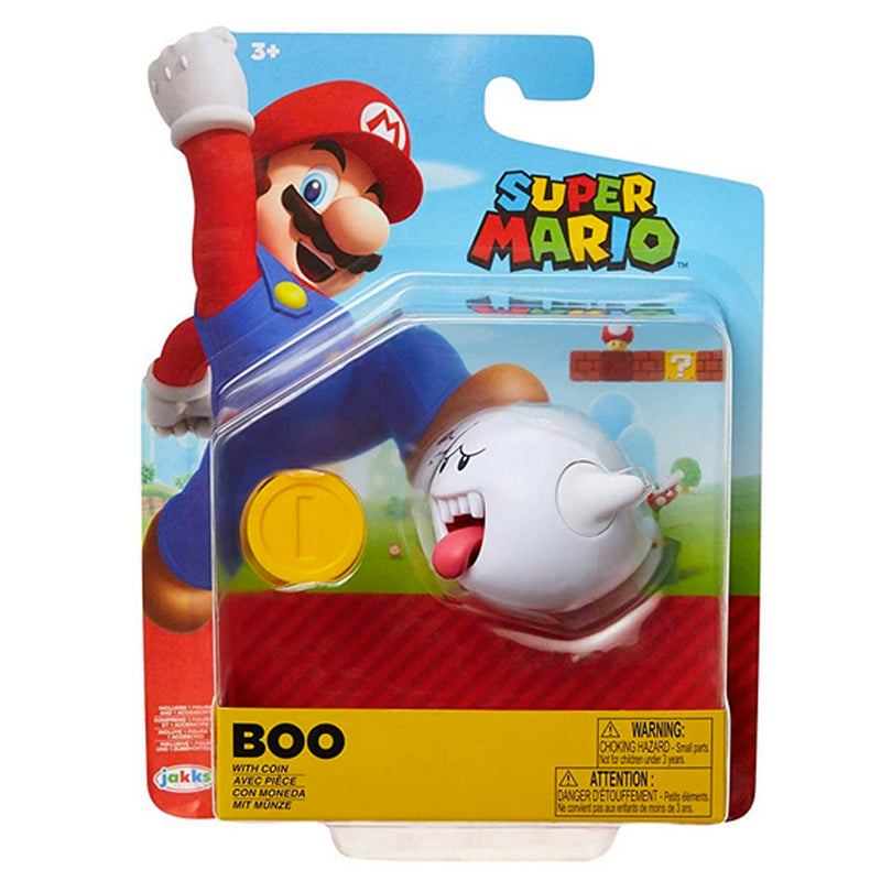 "SUPER MARIO 4"" Boo Articulated Figure with Coin Accessory White"