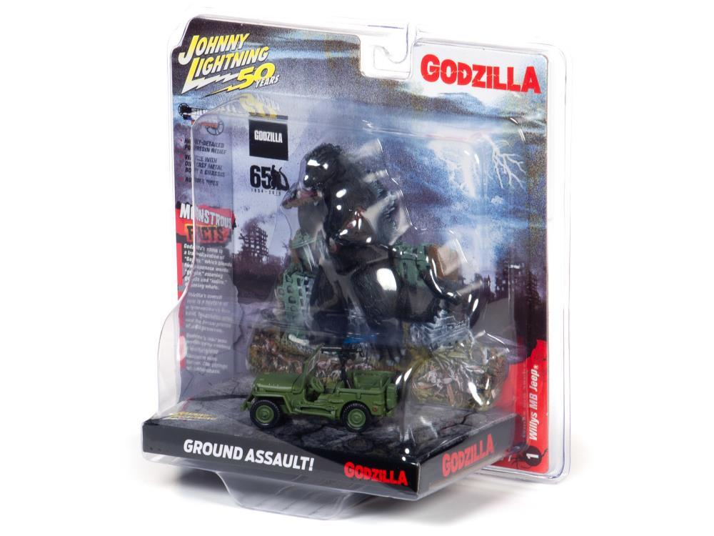 Johnny Lightning Godzilla Silver Screen Series Façade Diorama - Japan Poilce Reserve Corps. Willys MB Jeep