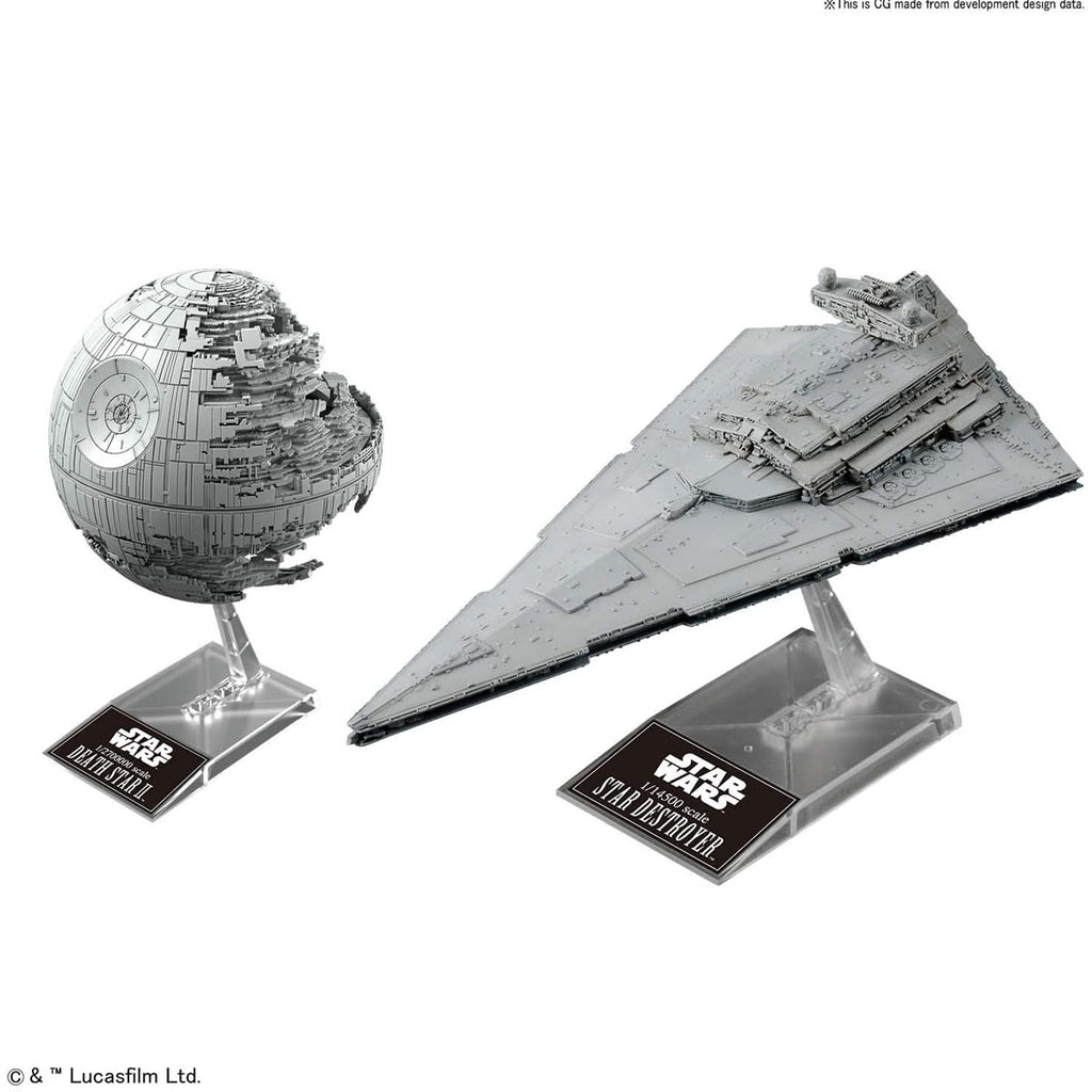 Bandai Star Wars Plastic Model Death Star II 1/2,700 Scale and Star Destroyer 1/14.500 Scale