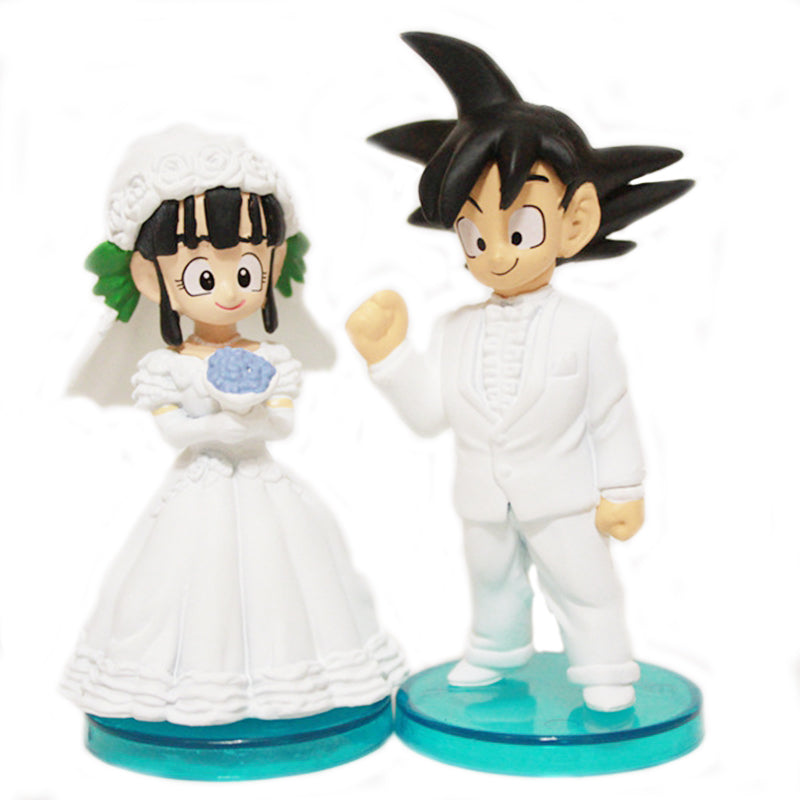 Anime Dragon Ball Z Son Goku & ChiChi Wedding PVC Figures Toys Dolls 8cm set of 2