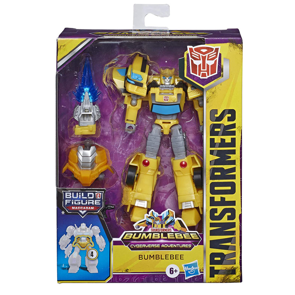Transformers Toys Cyberverse Deluxe Class Bumblebee Action Figure, Sting Shot Attack Move and Build-A-Figure Piece