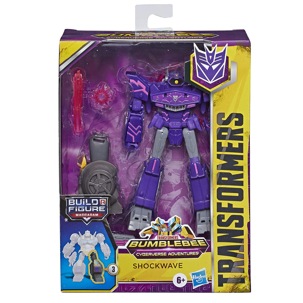 Transformers Toys Cyberverse Deluxe Class Shockwave Action Figure, Shock Blast Attack Move and Build-A-Figure Piece
