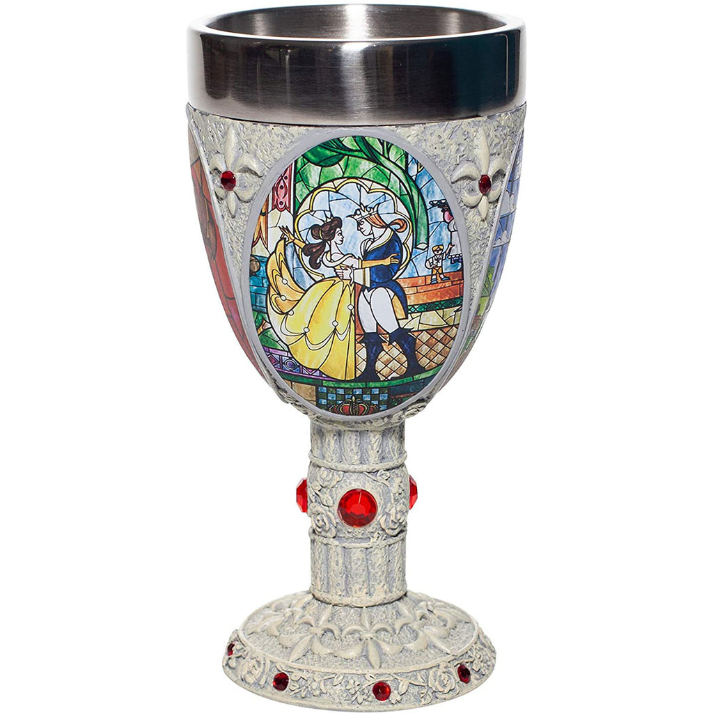 Enesco Disney Showcase Beauty and The Beast Stained Glass Scenes Decorative Chalice Goblet Cup