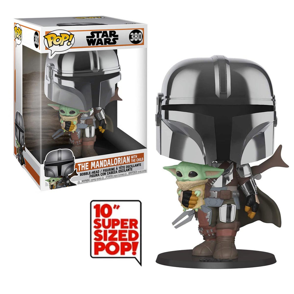Funko Pop! Star Wars #380: The Mandalorian - 10 Inch Chrome Mandalorian with The Child