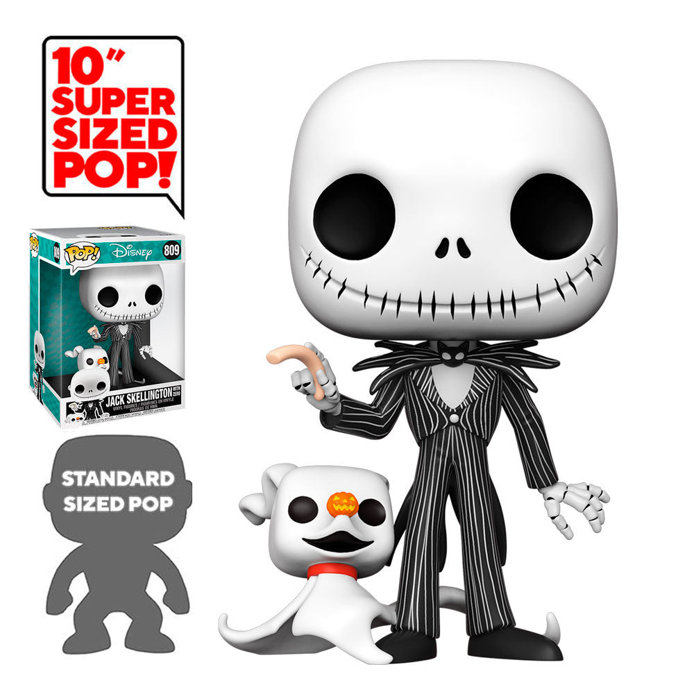 Funko Pop! Disney #809: The Nightmare Before Christmas - 10 Inch Jack Skellington with Zero