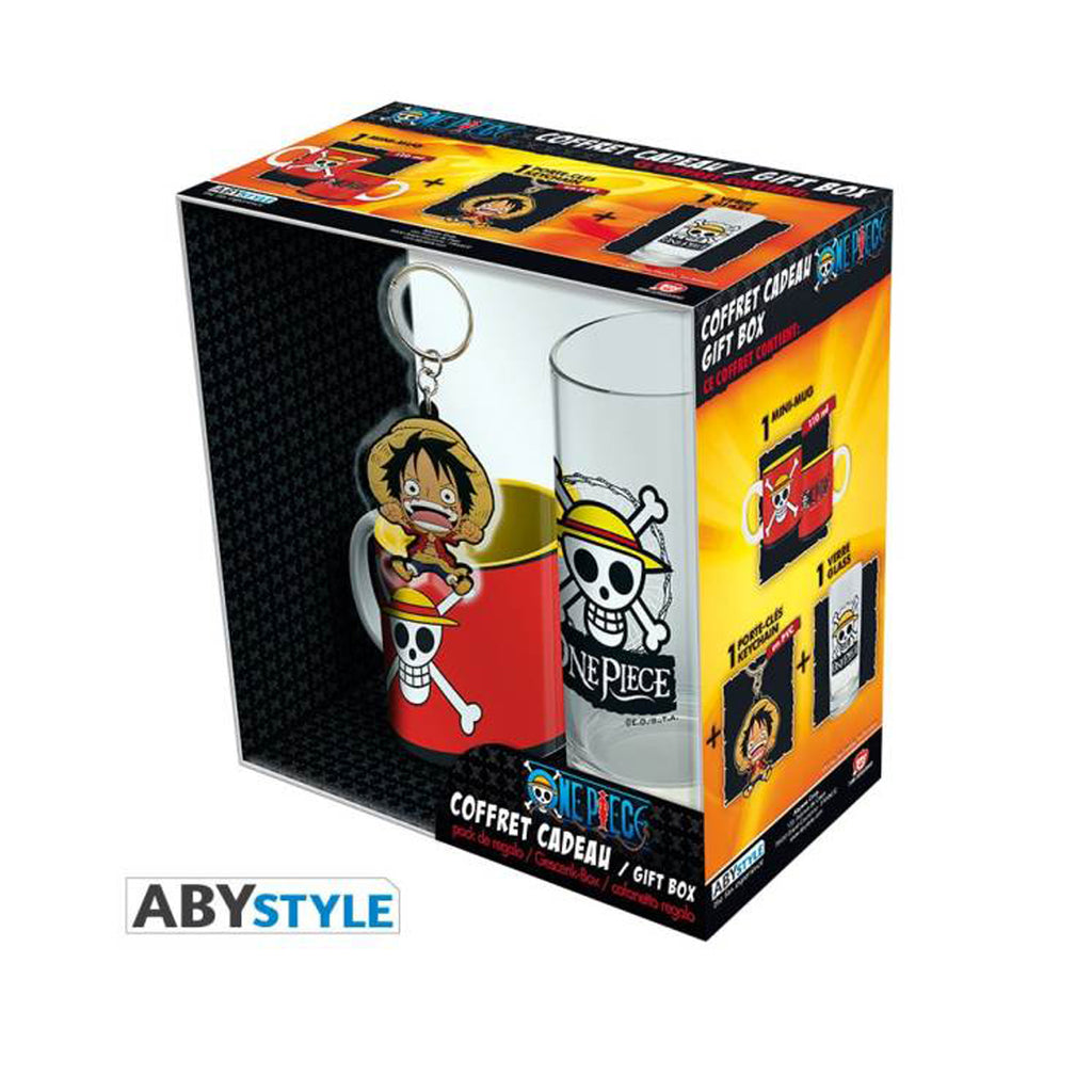 "ONE PIECE - Pck Glasses 29cl + KeyringPVC + Mini Mug ""Luffy"" ABYStyle"