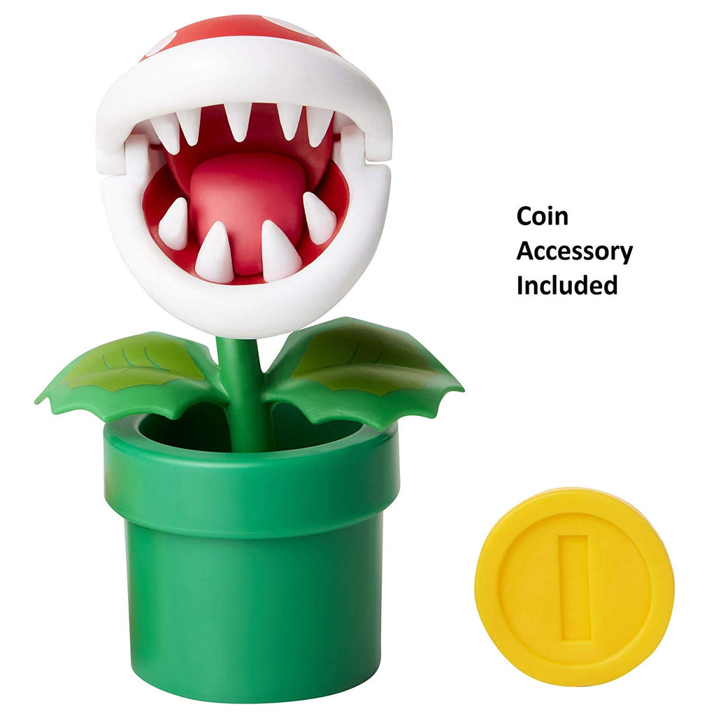 "Nintendo Super Mario Piranha Plant 4"" Articulated Figure with Coin"