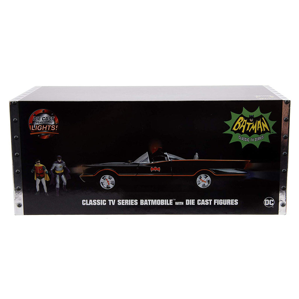 Jada Toys 1:18 Scale Classic 1966 TV Series Batmobile Die-cast Car, Vehicle with Batman & Robin Figure
