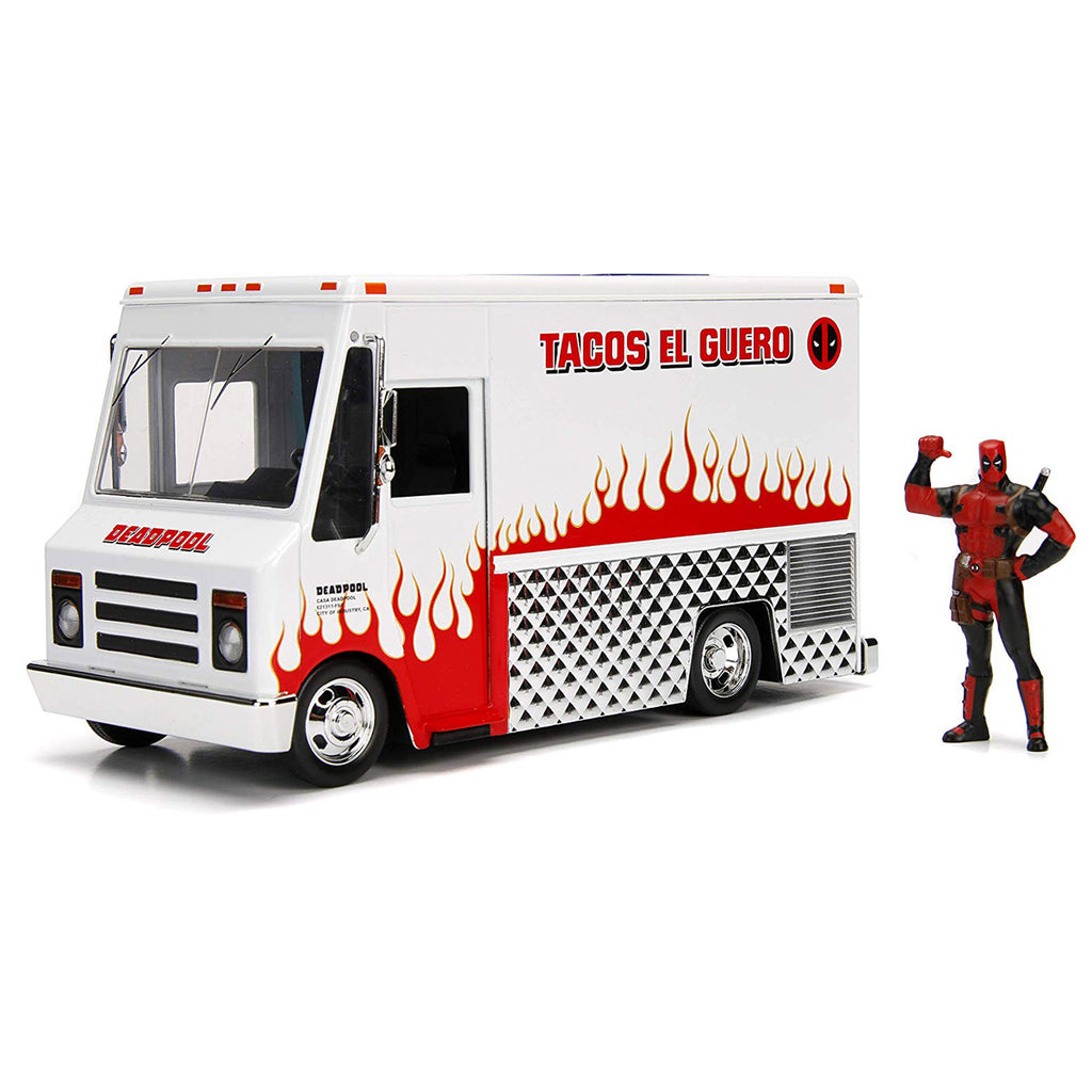 Jada Toys Marvel Deadpool & Taco Truck Die-cast Car, 1:24 Scale Vehicle, 2.75Collectible Figurine