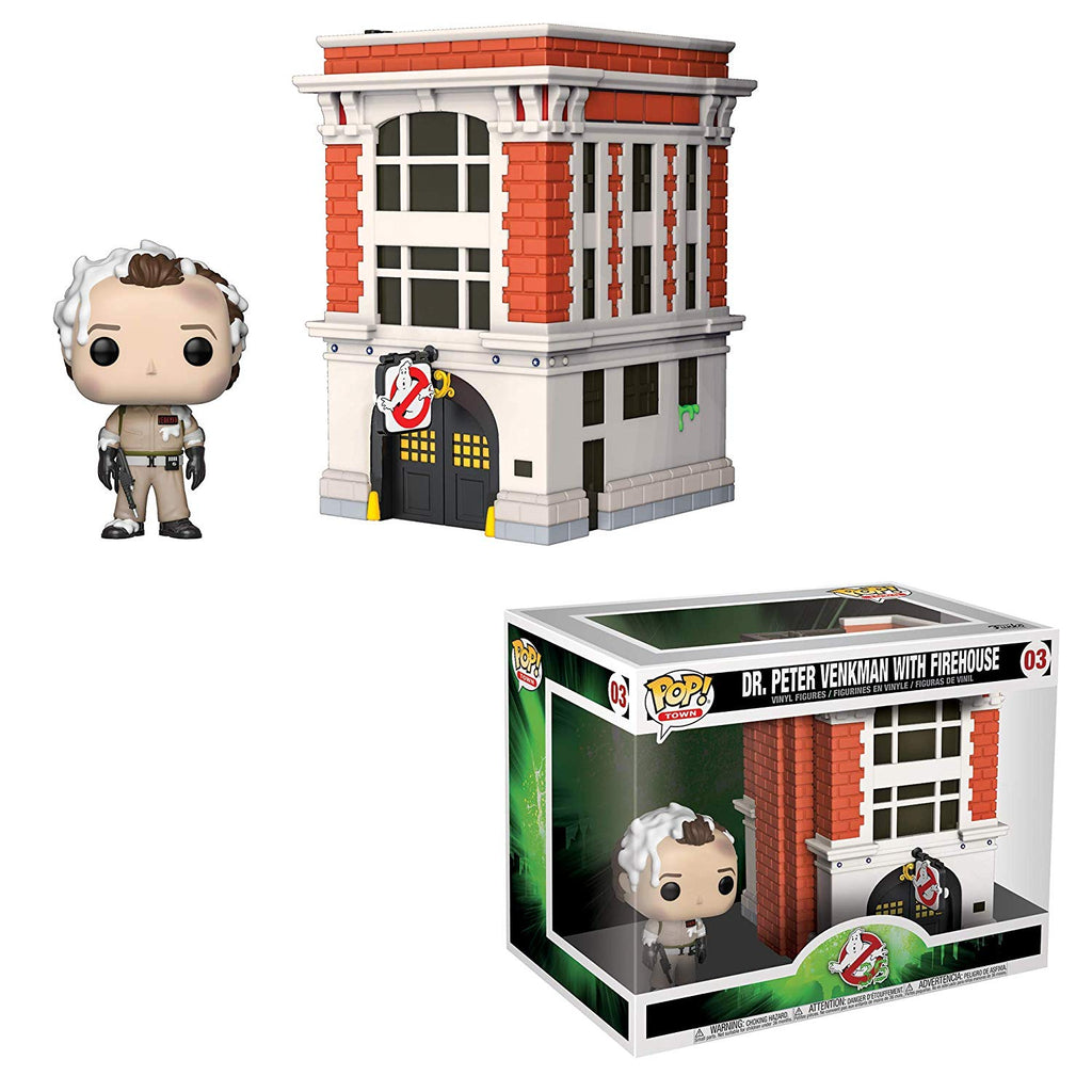 Funko Pop! Town: Ghostbusters - Peter with Firehouse,  Multicolor