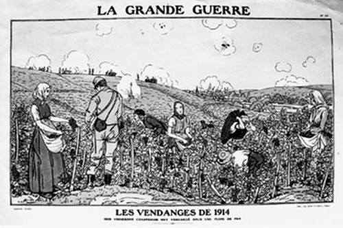 A drawing depicting the 1914 harvest under air attack. (Courtesy of Médiathèque, Epernay)