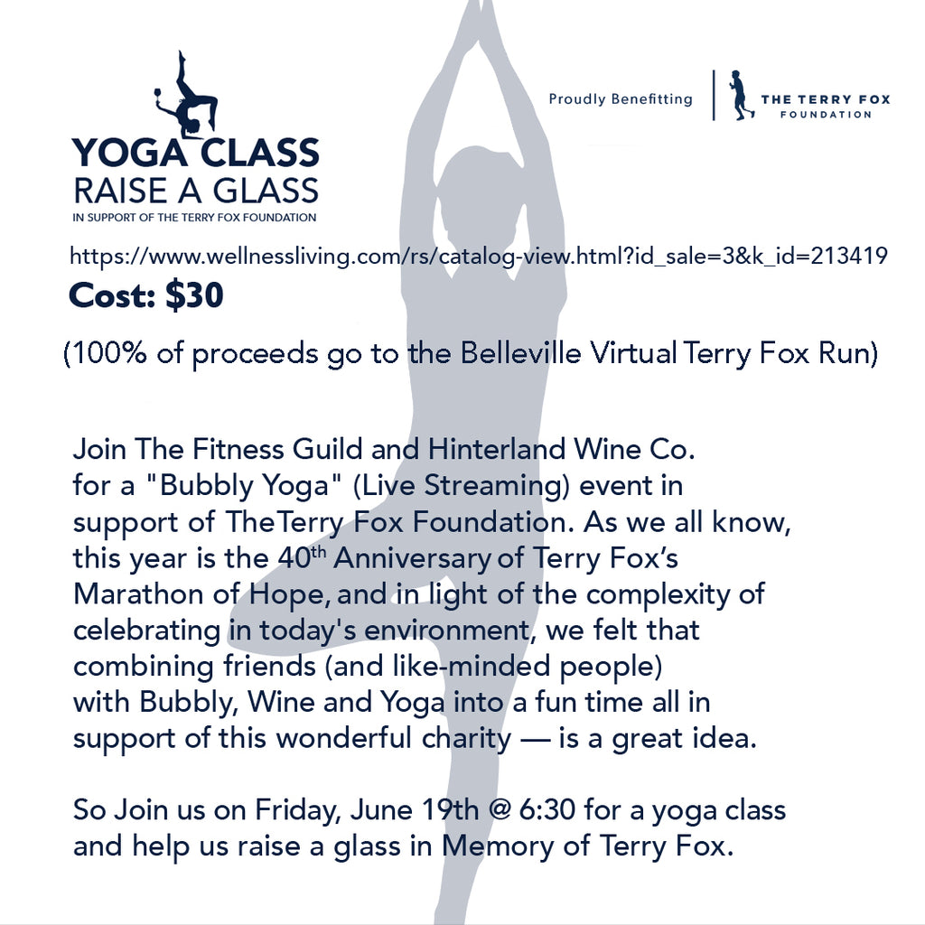 Yoga Class, Raise a Glass (Terry Fox fundraiser event)