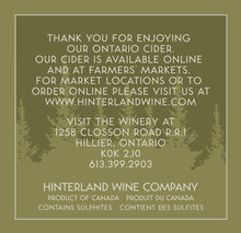 Load image into Gallery viewer, Hinterland Wine Cherry Cider, back label