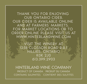 Hinterland Wine Cherry Cider, back label