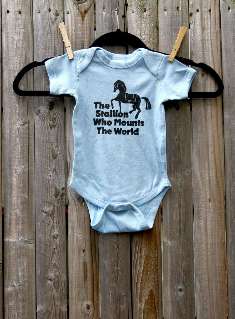 The Stallion Who Mounts The World Onesie. Game of Thrones inspired, hand-printed.