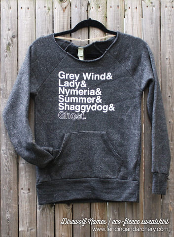 Direwolf Names // Ladies Eco-fleece sweatshirt
