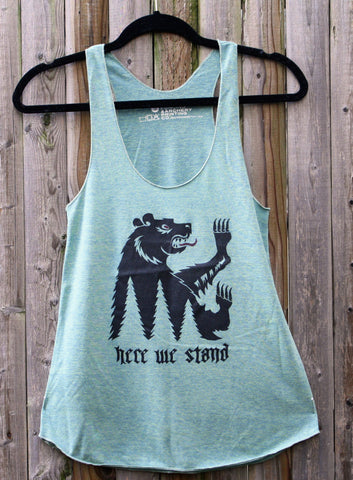 House Mormont Bear Sigil / Here We Stand / Ladies Racerback Tank