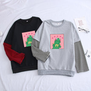 Frog Meme Sweatshirt With Stiching Color Pullovers - Dankest