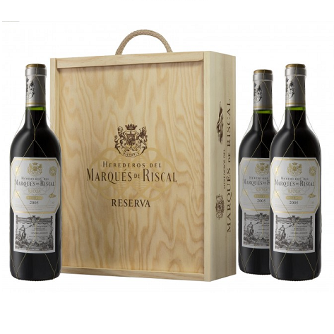 Copy of Rioja Reserva 2015 Marqués de Riscal - 3 bottle wooden box