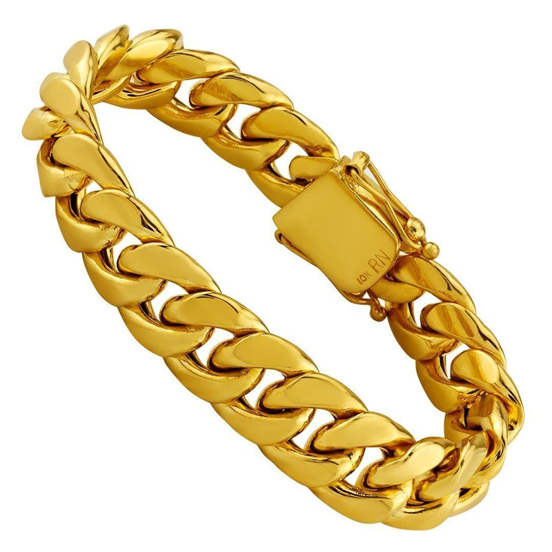 10K Hollow Yellow Gold Mens Cuban Bracelet 15 mm