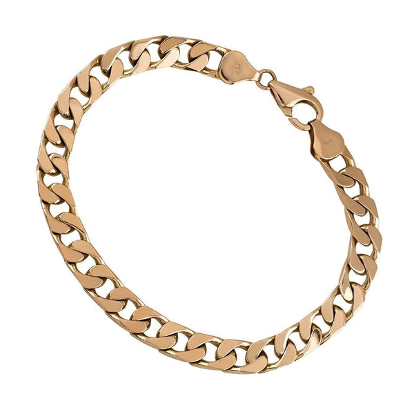 10K Rose Gold Square Curb Bracelet 7 mm