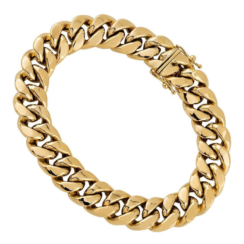10k Yellow Semi-Solid Gold Cuban Link Bracelet 12 mm