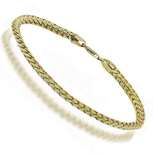 10K Yellow Solid Gold Mens Franco Bracelet 4 mm