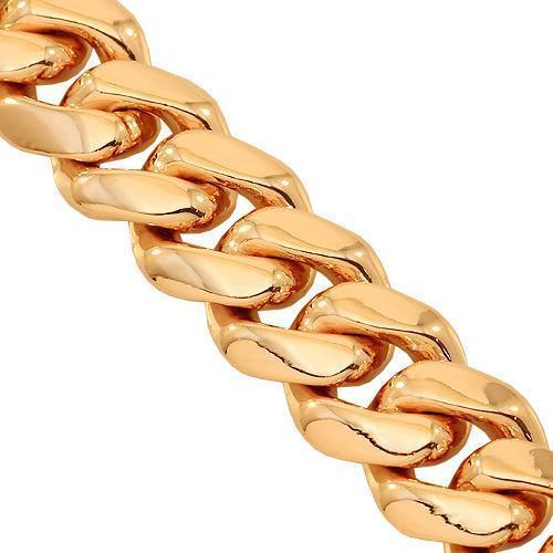 14K Solid Rose Gold Mens Cuban Link Bracelet 10 mm