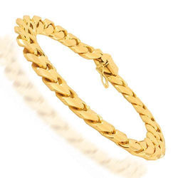 14K Solid Yellow Gold Mens Cuban Bracelet 12 mm