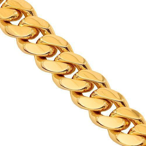 14K Solid Yellow Gold Mens Cuban Bracelet 8 mm