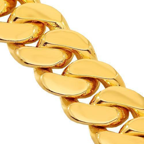 14K Solid Yellow Gold Mens Cuban Link Bracelet 13.5 mm
