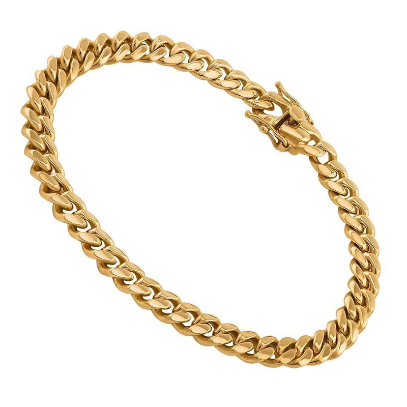 14K Solid Yellow Gold Mens Cuban Link Bracelet 7 mm